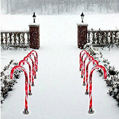 """1x Led 10"""" CHRISTMAS PATHWAY CANDY CANE Stakes Walkway Light Outdoor Yard Decor"""