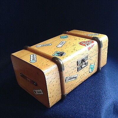 Vintage MINIATURE travelling TRUNK German MUSIC BOX wood black forest ballerina