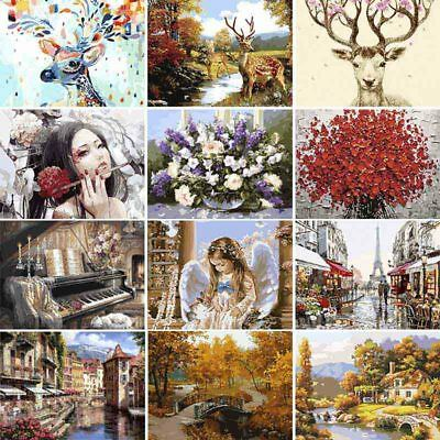 Multi Style Frameless Paint By Numbers Kit DIY Canvas Oil Painting Wall Decor