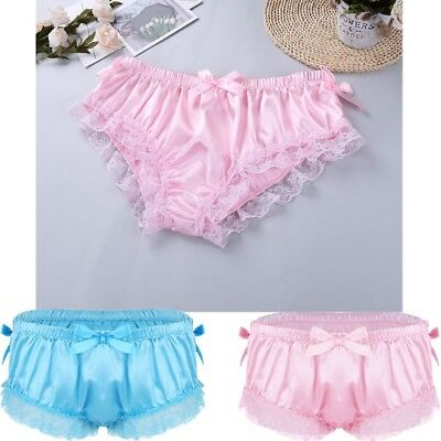Mens Silky French Knickers Sissy Bloomers Panties Briefs Crossdress Underwear