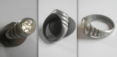 Fabulous Victorian Silver and GOLD SIGNET Ring with Wolf and Tau Cross.