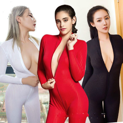 Super Elastisch Striped Bodystocking Overalls Body Catsuit Langarm 2-way Zipper