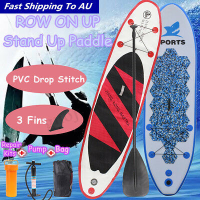Blue / Red PVC Inflatable Surfing Board Stand Up Surfboard Paddleboard Pump Kits