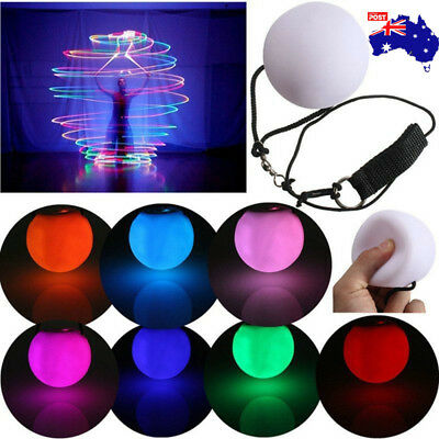 LED Multi-Coloured Glow POI Thrown Balls Light Up For Belly Dance Hand Prop AU