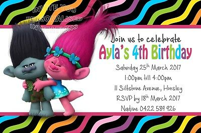 Trolls Birthday Party Invite Invitation Personalised Free Magnet