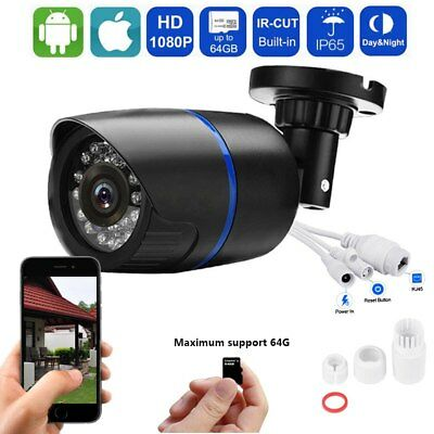 HD 1080P Security Outdoor  Surveillance IP Camera IR Built-in SD Card Slot
