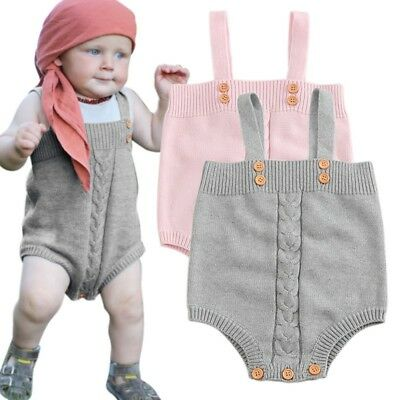 Newborn Knitted Romper Infant Kids Baby Boy Girl Bodysuit Solid Jumpsuit Outfits