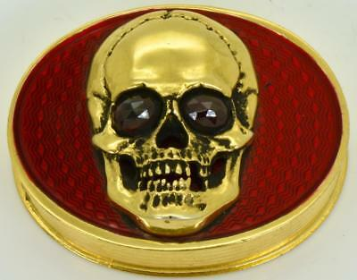 ONE OF A KIND Victorian gild silver&enamel MEMENTO MORI SKULL poison/pill box