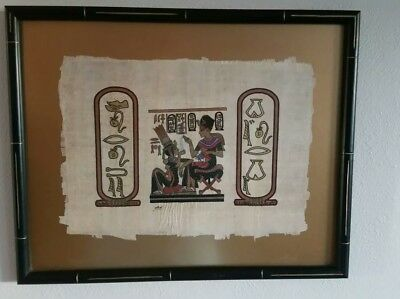 Egyptian Hieroglyphics Papyrus Paper Gold Gilt Framed Painting; Signed