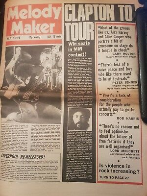 Melody Maker Music Paper 17th July 1976 - Thin Lizzy, Eric Clapton, The Dialogue