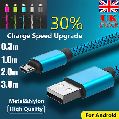 Braided High Speed Charge Micro USB Charging Lead Power Data Cable For Android