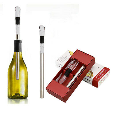 Wine Bottle Cooler Stick Freezer with Aerator + Pourer Decanter Stainless Steel