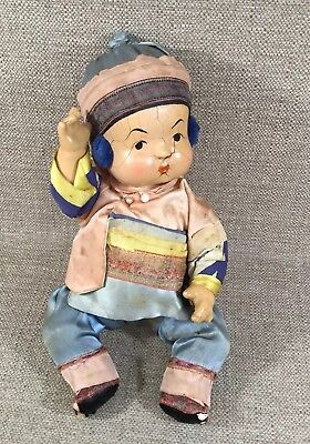 """Vintage 1940's Unmarked Composition Chinese Boy Doll Silk Clothing 10"""""""