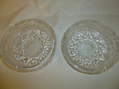 Lot of 2 VINTAGE Glass Ashtrays Round 3 notch Etched Star leaf Heavy Beautiful