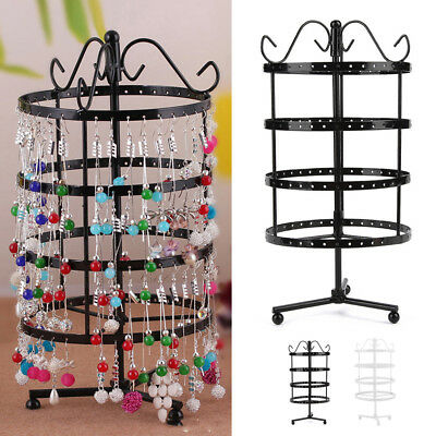 144 Holes Rotating Earring Display Rack Metal Holder Jewelry Stand Organizer