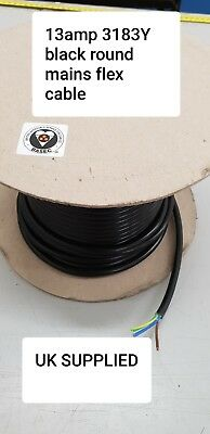 3 core 3183Y 13 AMP Electrical Cable Black Round Mains Wire Flex 1.5mm 240V UK