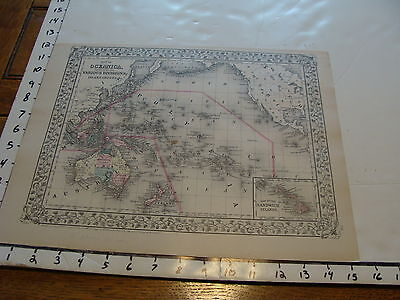 vintage map: 1881 Mitchell Map of OCEANICA & AFRICA