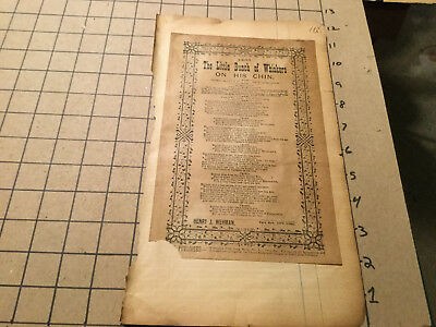 Original Song Lyrics BROADSIDE 1894 THE LITTLE BUNCH OF WHISKERS ON HIS CHIN