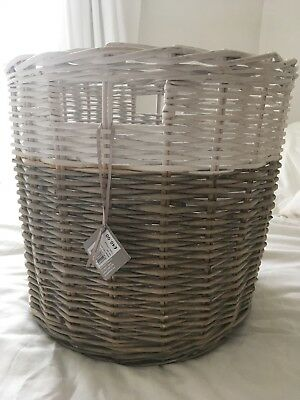 John Lewis Round Wicker Basket With Labels White And Natural