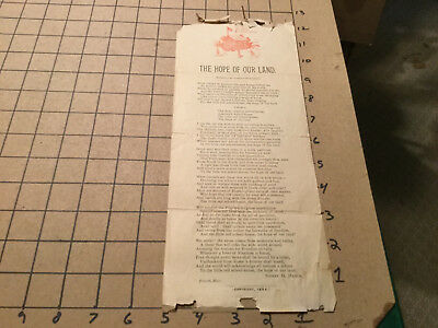 """Vintage Original SONG LYRIC BRAODSIDE aprox 12 x 5"""" -- 1894 THE HOPE OF OUR LAND"""