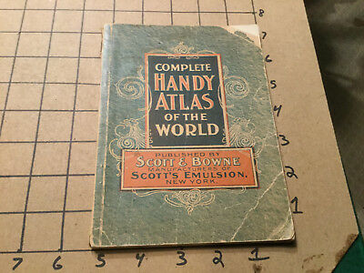 Vintage 1899 -- HANDY ATLAS of the WORLD 80pgs - Scott & Brown --