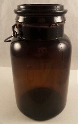 Antique Amber Quart Jar Fruit Canning Wire Top # 4 Dark Amber Plain Glass Lid
