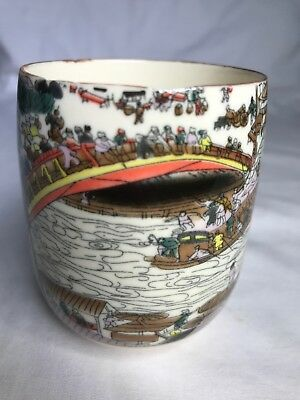 Vintage Japanese Tea Cup Hand Painted Village scence 3 inchs Tall