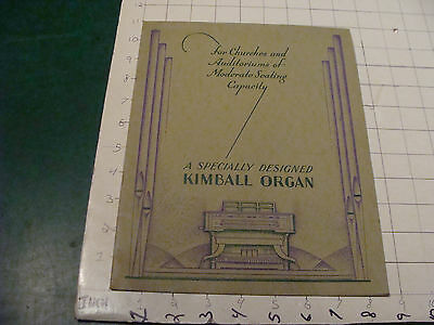 vintage Orig. CATALOG: speciality designed KIMBALL ORGAN 16 pages EARLY Undated