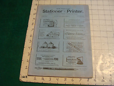 New England STATIONER & PRINTER Oct. 1892 very scarce Magazine-PENS, CUTTERS, ET