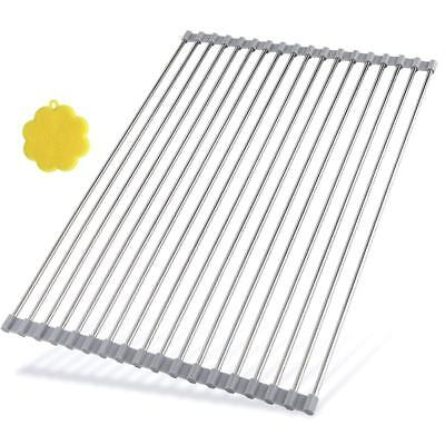 Stainless Steel Roll Up Dish Drying Rack, Large, Gray