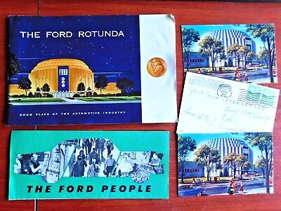 1950s The Ford Rotunda - Brochure + 3 post cards, other Ford brochure