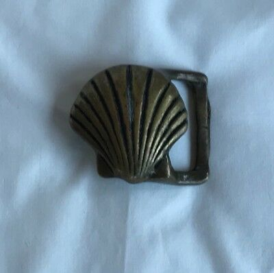 Vintage Seashell Belt Buckle Brass