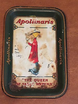 """Antique """"Queen of Table Waters"""" Bar Tip Tray Advertising Apollinaris Water c1900"""