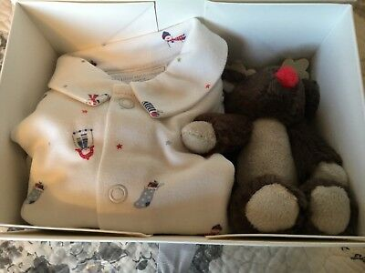 Bnib The Little White Company Snowman Gift Set Sleepsuit & Reinder Age 3-6 Mths