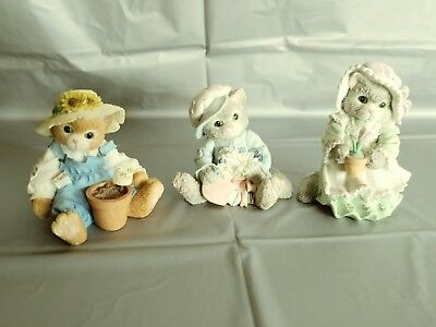 LOT of 3 Calico Kittens with Flowers by Enesco