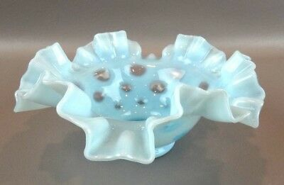 "Fenton Blue Opalescent Coin Dot Ruffled Bowl 6 3/4"" ~ ORIGINAL LABEL ~"