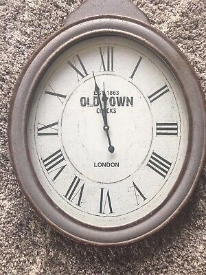 Large Oval Wall Clock Vintage Aged Effect Grey