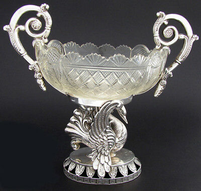 Antique European .800 (almost sterling) Silver & Crystal Centerpiece,  SWAN