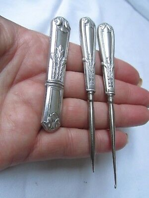 Antique Art Nouveau french silver Sewing tools x 3