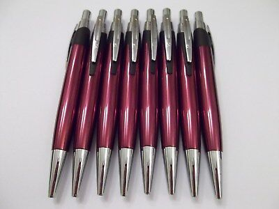Metal pens with click action Cranberry barrel & Silver trim Pack of 8 Black ink