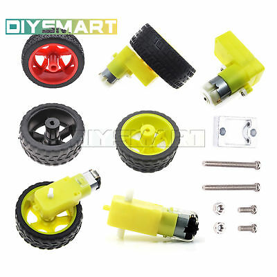 Smart Car Robot DC 3-6/12V Gear Motor Right-angle Plastic Tire Wheel Mount