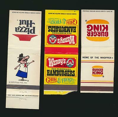 Lot of 3 1970's? Fast Food related matchbooks (AC) Burger King Pizza Hut Wendys