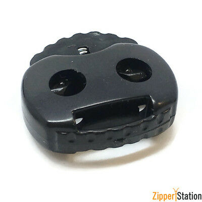 Dual cord stopper lock end toggles with metal spring. (5812ST)