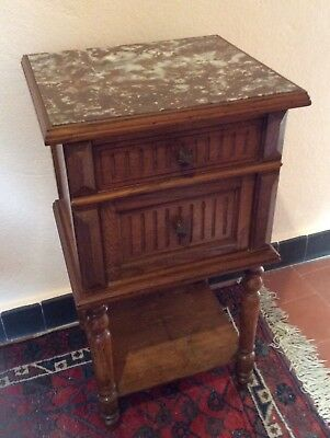 French Solid Oak Bedside Cabinet Marble Top