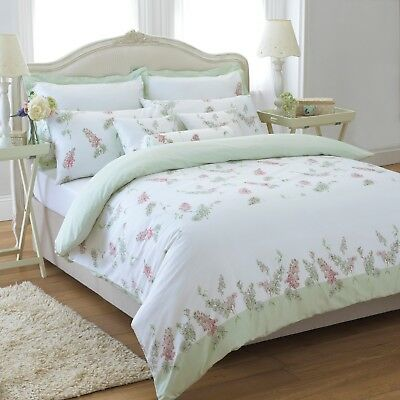 Great Knot Egyptian cotton Floral Rose bay Green duvet cover set Single double
