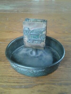 Inca APOLLO STUDIOS HAMMERED real COPPER?  arts crafts MATCH BOX HOLDER ashtray