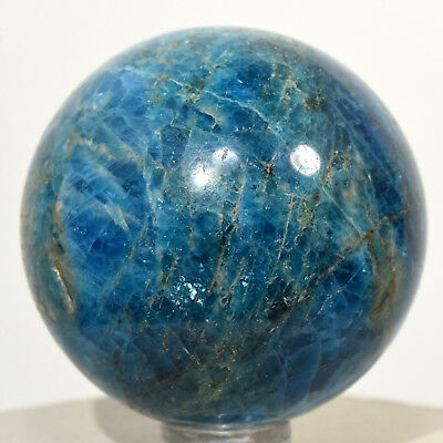 49mm Madagascar Blue Apatite Sphere Sparkling Natural Crystal Polished Stone