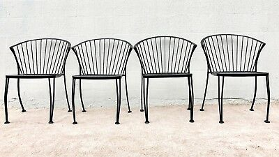 Set of 4 Russell Woodard Pinecrest Wrought Iron Chairs Vintage 1950,s