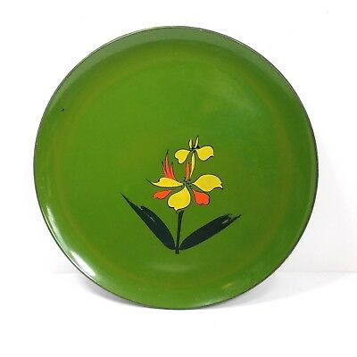 Norleans Lacquer Ware Serving Tray Groovy Floral Green Vintage Mid Century Japan