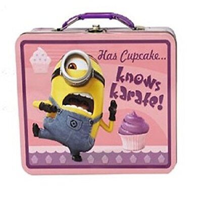 Despicable Me Square Carry All Tin Stationery Box - Has Cupcake Knows Karate!